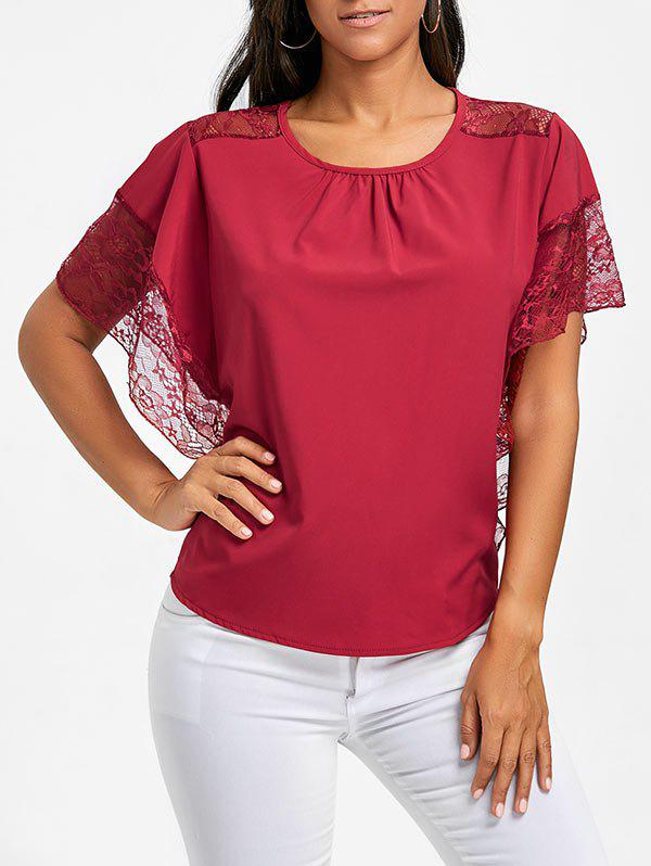 Outfits Batwing Sleeve Lace Trimmed Blouse