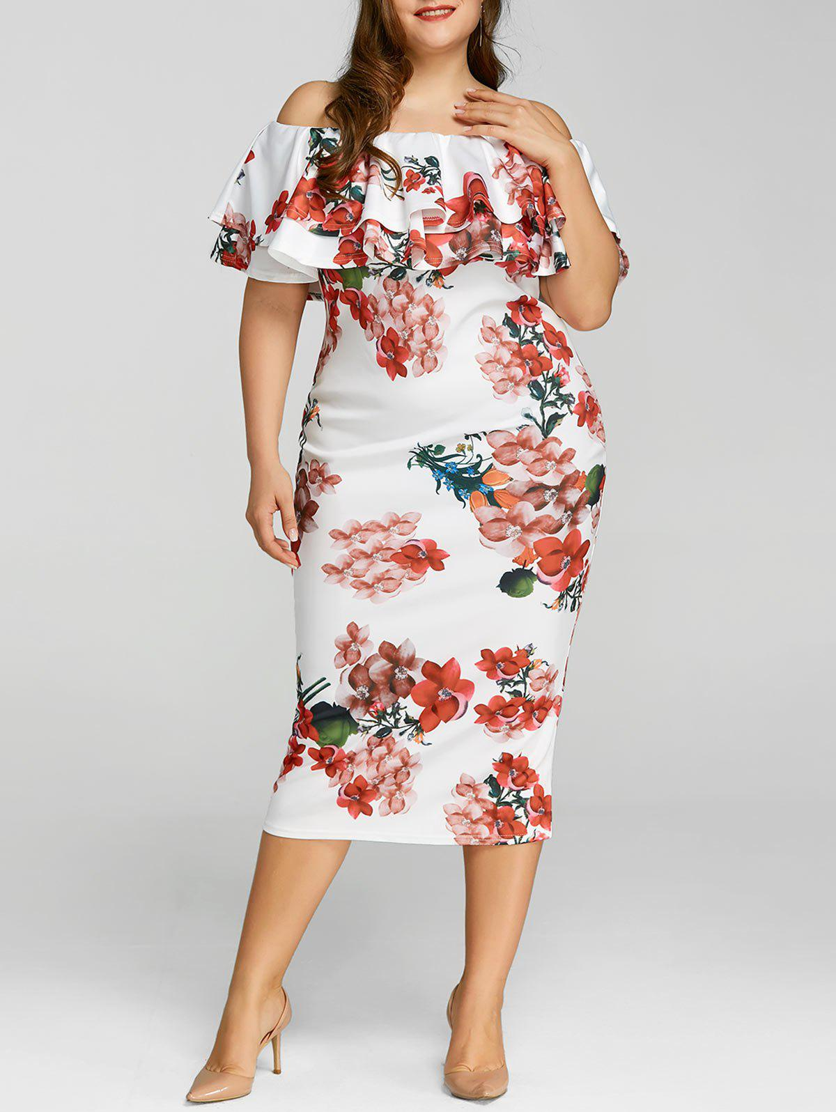 White 3xl Plus Size Ruffle Floral Print Dress