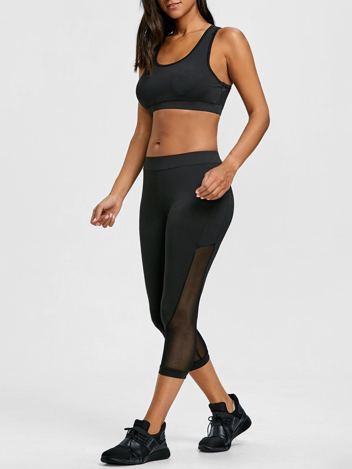 Outfit Sheer Mesh Panel Bra with Cropped Leggings Set