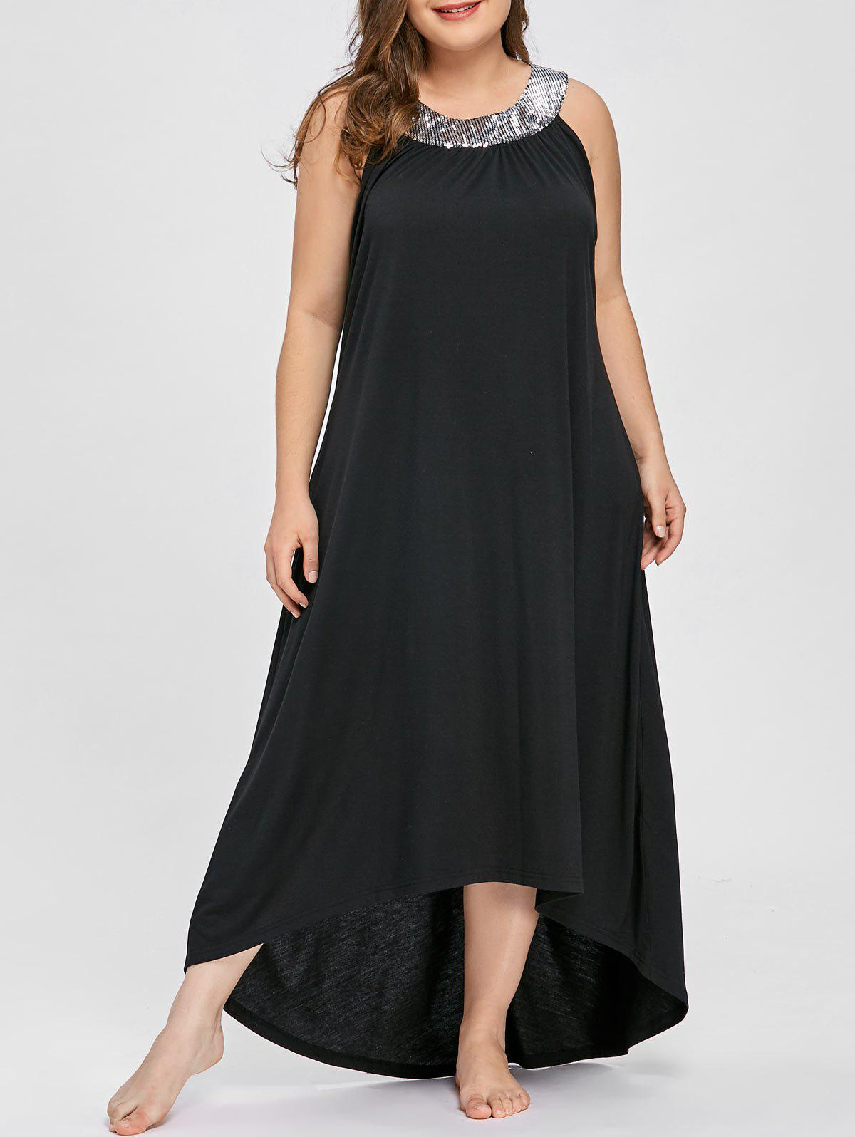 Shop Plus Size Sequins Collar Sleeveless Maxi Dress