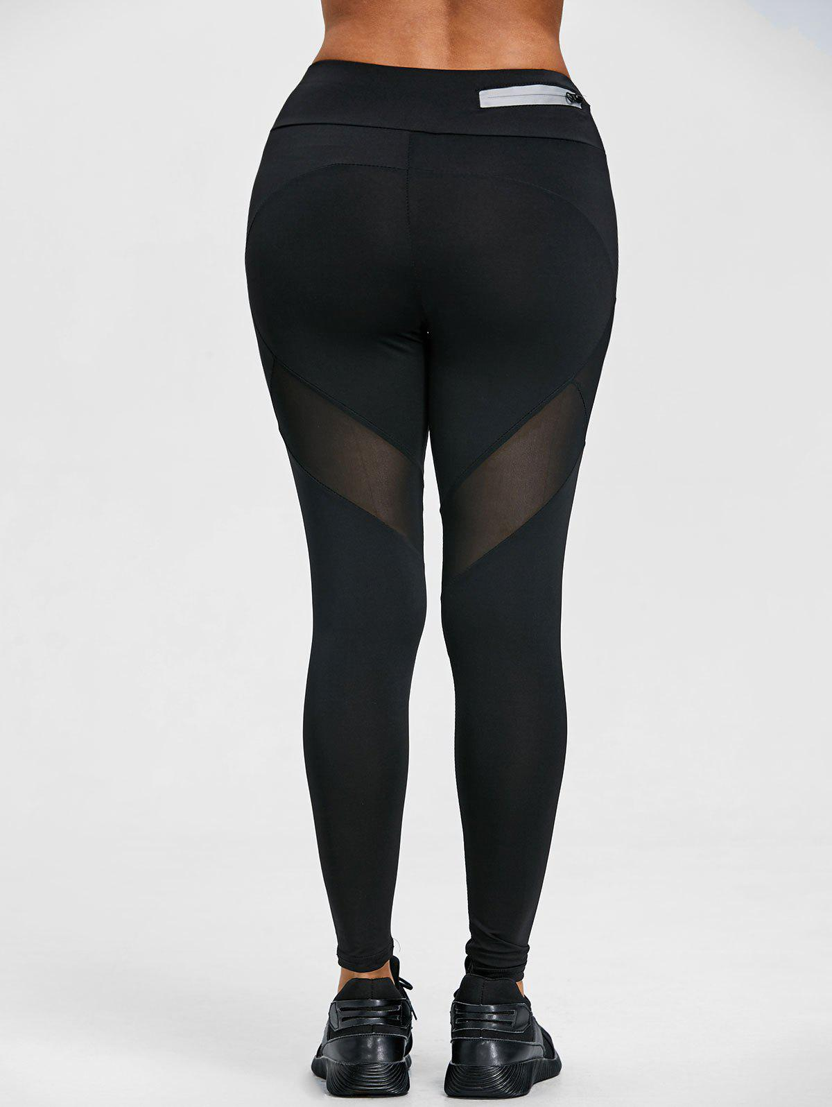 Trendy High Waist Sheer Mesh Panel Workout Leggings