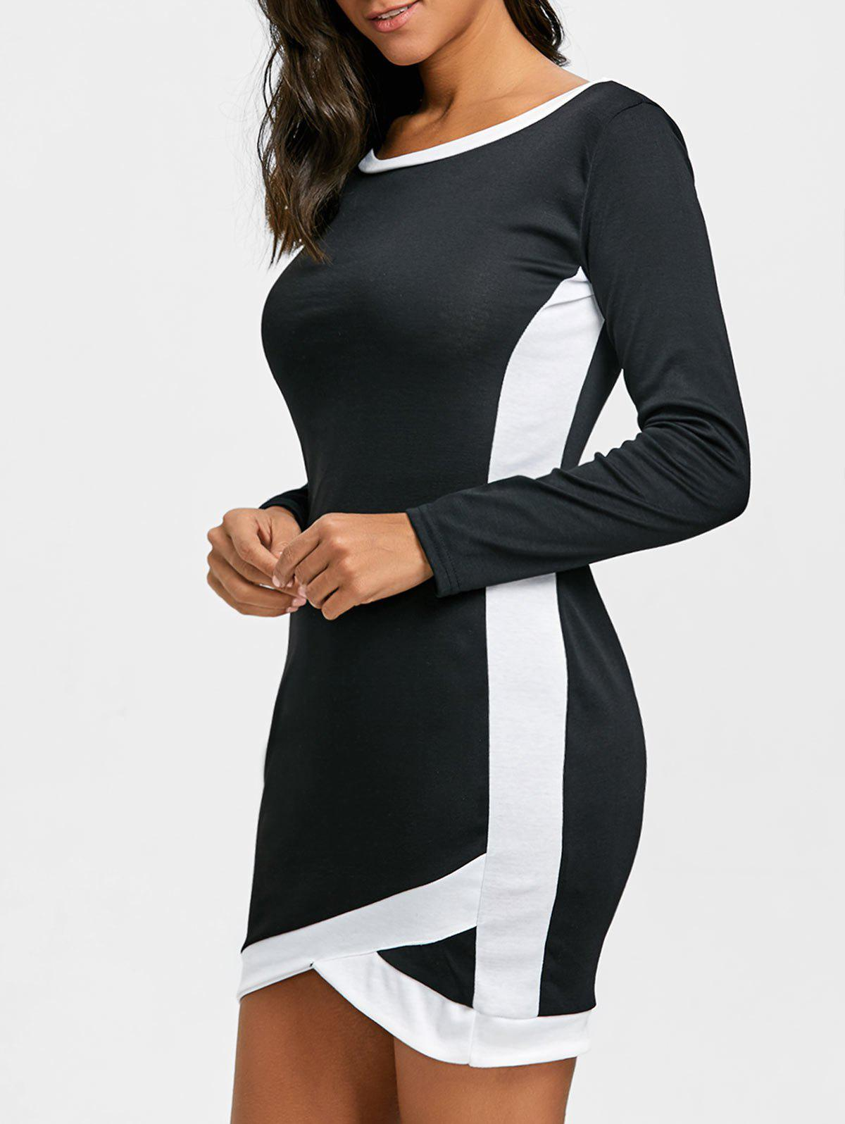 Best Long Sleeve Two Tone Bodycon Dress