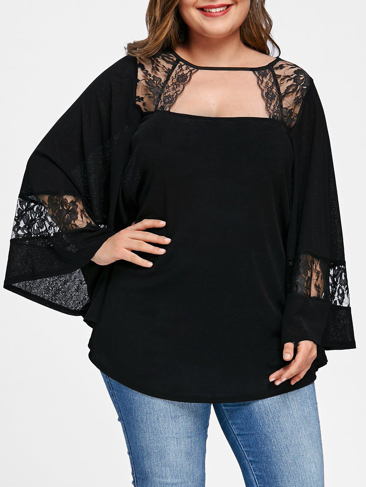 Online Plus Sizes Bell Sleeve Lace Insert Top