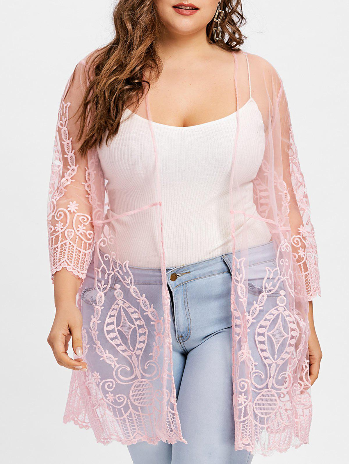 Trendy Plus Size Sheer Lace Cover Up Cardigan