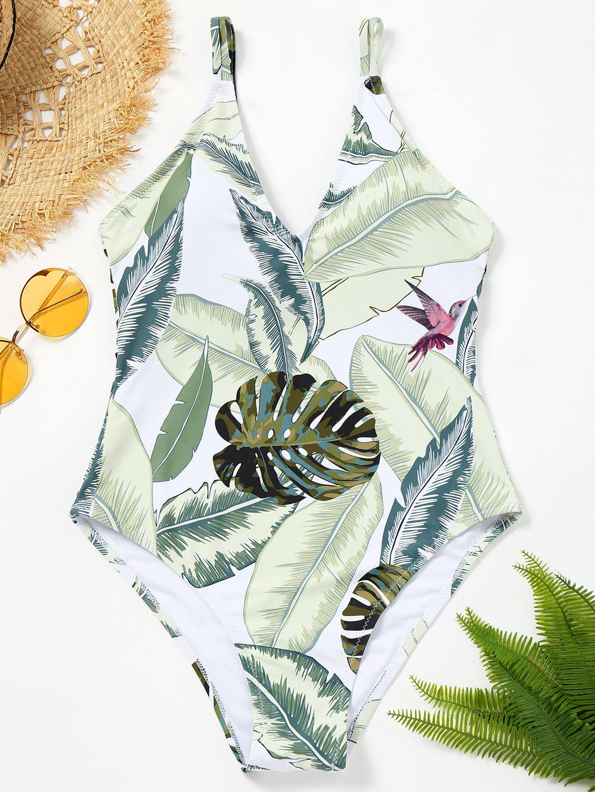 Chic Leaves Print Tropical One Piece Swimsuit