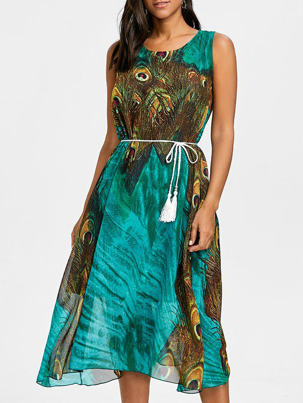 Cheap Peacock Feather Print Tassel Belted Chiffon Dress
