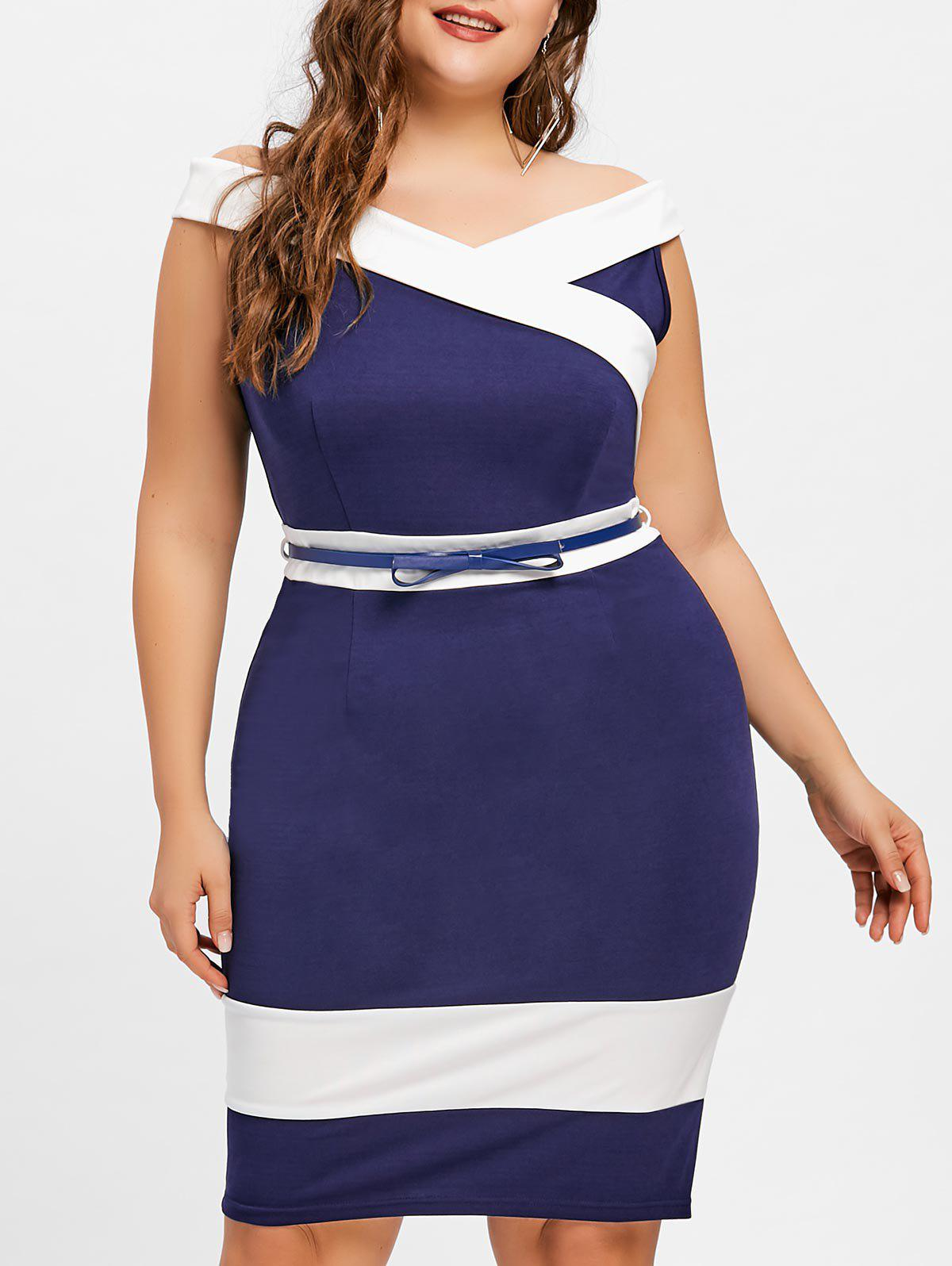 Hot Plus Size Cap Sleeve Sheath Dress