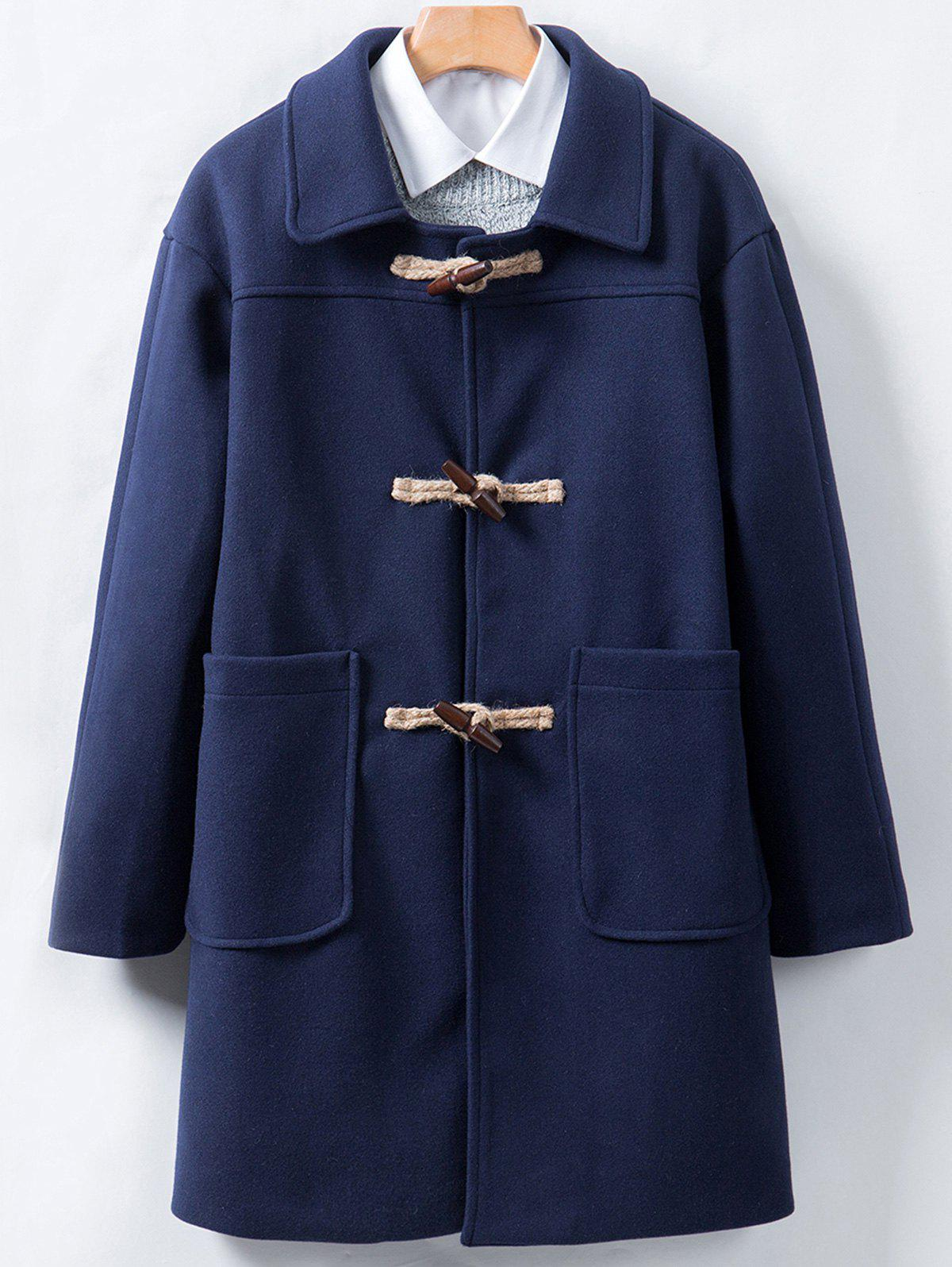 Affordable Horn Button Longline Woolen Coat