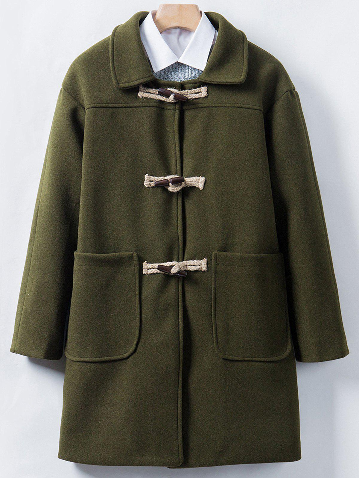 Unique Horn Button Longline Woolen Coat