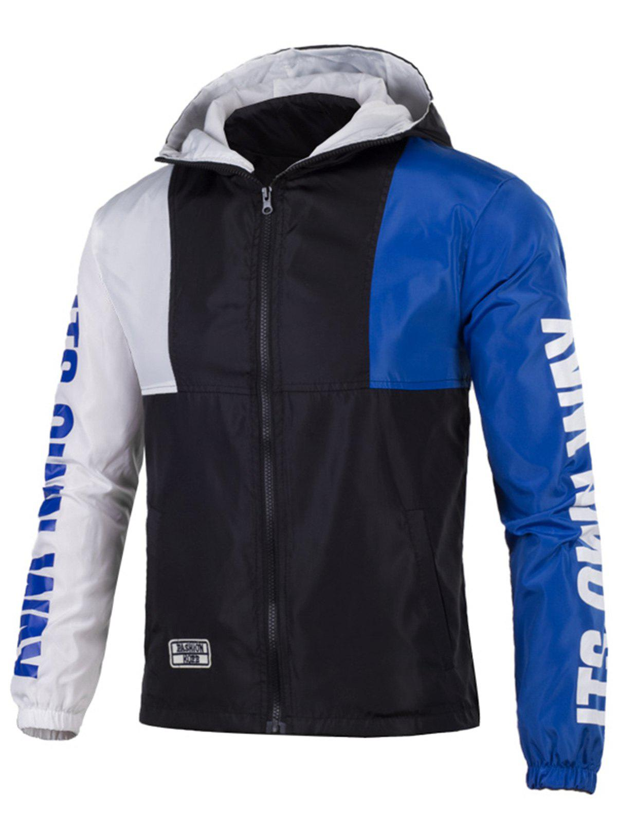 New Color Block Graphic Zip Up Lightweight Jacket