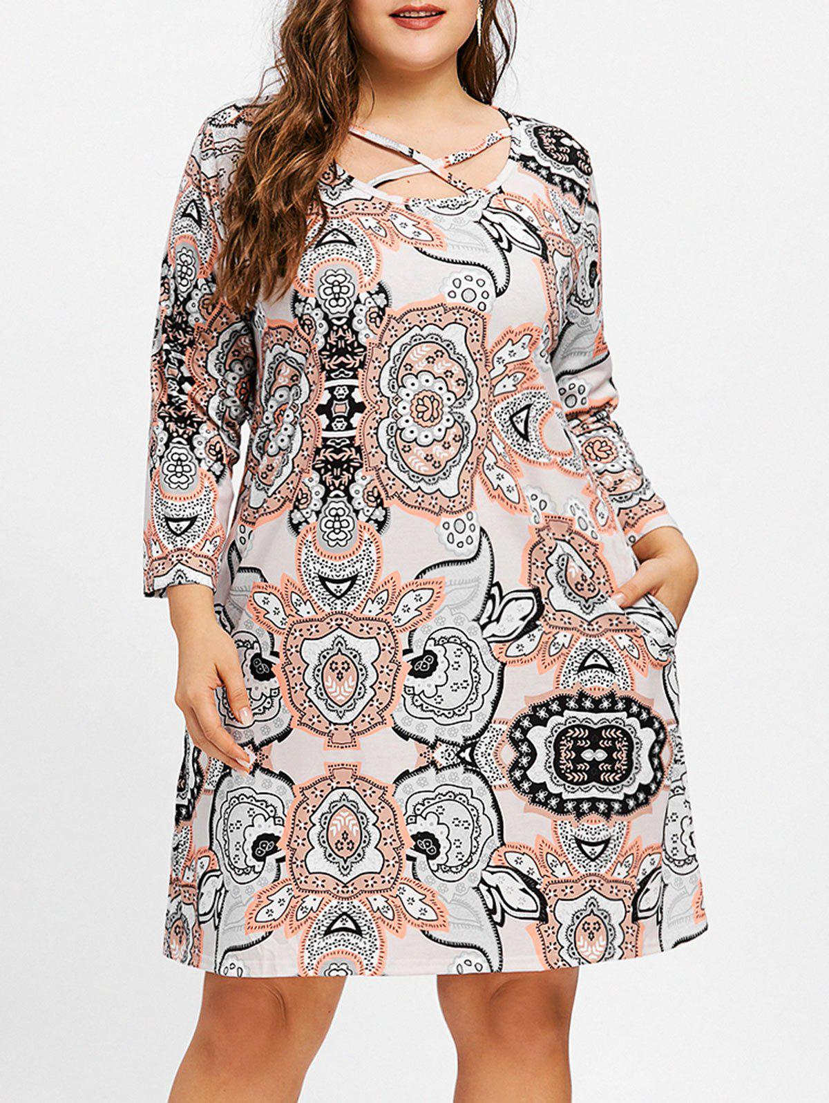 Affordable Criss Cross Floral Print Plus Size Tunic Dress