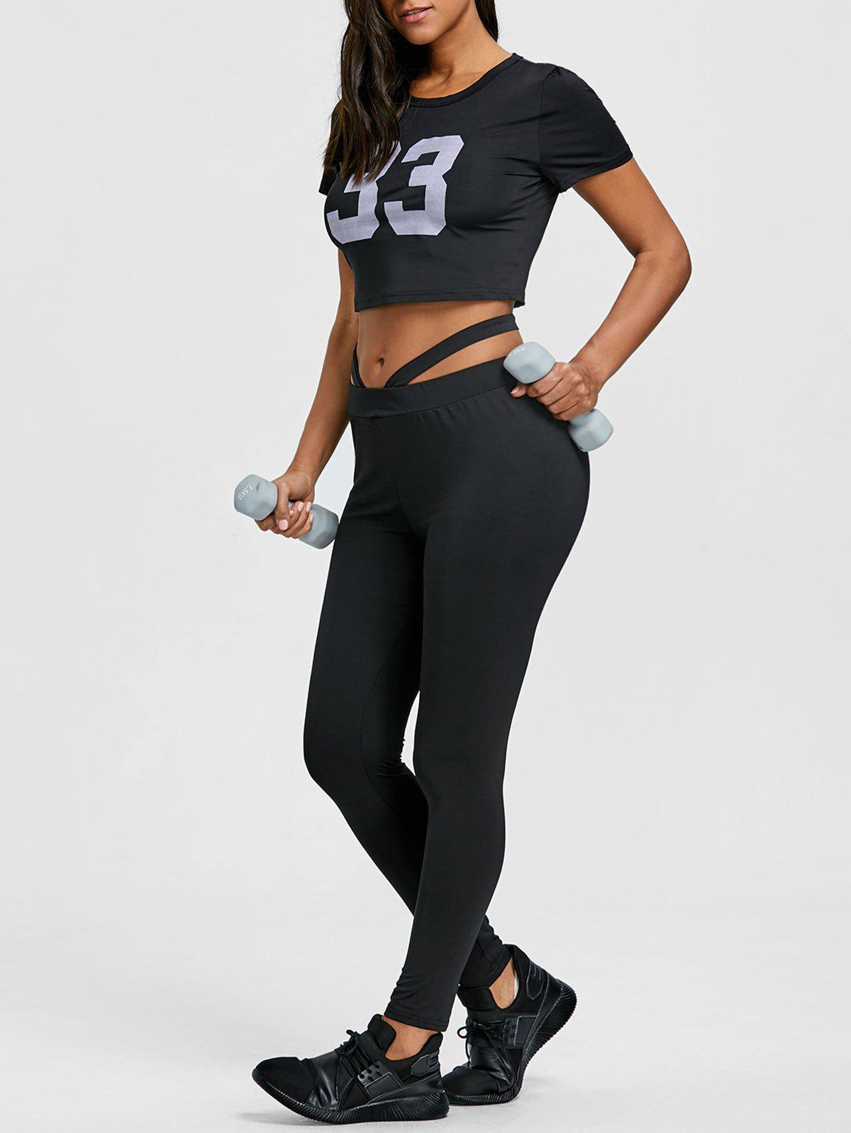 Trendy Letter Print Cropped Top with Gym Leggings Set