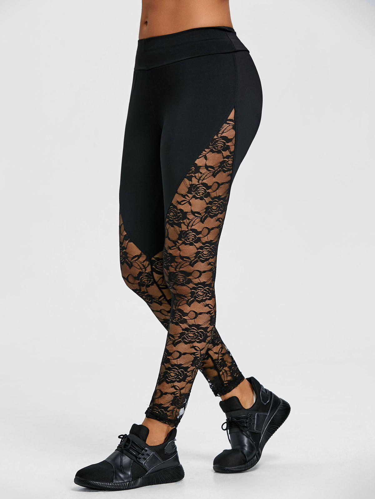 Discount Floral Lace Panel Sports Leggings