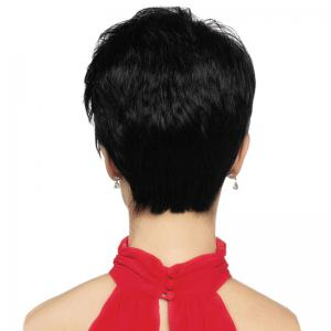 Short Inclined Bang Fluffy Straight Human Hair Wig -