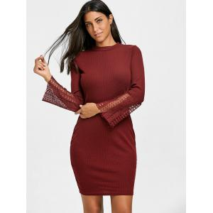 Lace Panel Knitted Bodycon Dress -