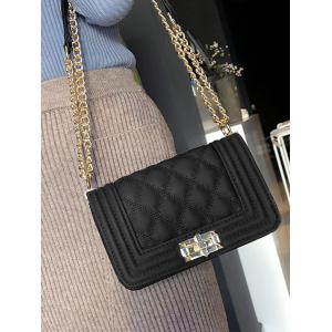Faux Leather Twist Lock Quilted Crossbody Bag -