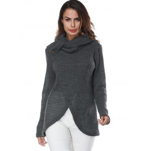 Gray S Turtleneck Overlap Wrap Sweater | RoseGal.com