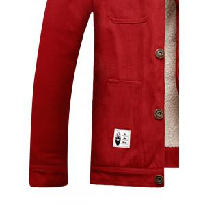 Multi Pockets Appliques Button Up Fleece Jacket -