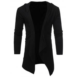 Open Front Hooded Drape Cardigan -