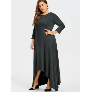 Plus Size Maxi Asymmetric Dress with Sleeves -
