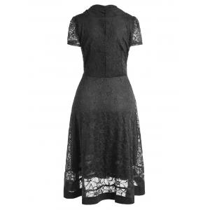 Plus Size Lace Overlay Half Button Dress -