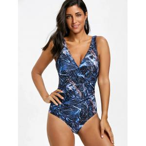 Backless Surplice Printed One Piece Swimsuit -