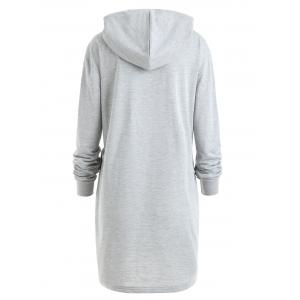 Drawstring Color Block Plus Size Longline Hoodie -