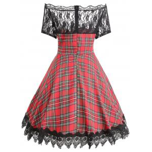 Plaid Lace Insert Scalloped Plus Size Dress -
