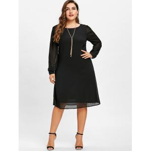 Long Sleeve Chiffon Plus Size Tunic Dress -