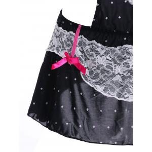 Cut Out Lace Panel Dot Teddy -