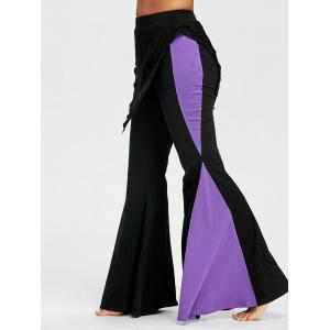 Color Block High Waist Bell Bottom Pants -