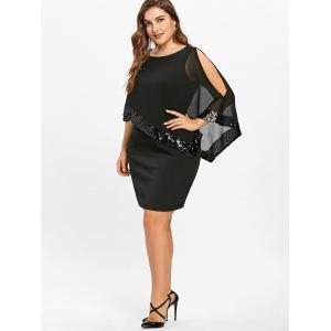 Plus Size Sequins Overlay Capelet Dress -