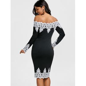Lace Trim Off The Shoulder Evening Dress -