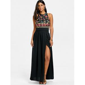 Embroidery Maxi Evening Dress -