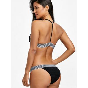 Shirred Stripe Trim Bralette Bikini Set -
