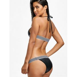 Halter Low Waist Stripe Trim Bikini Set -