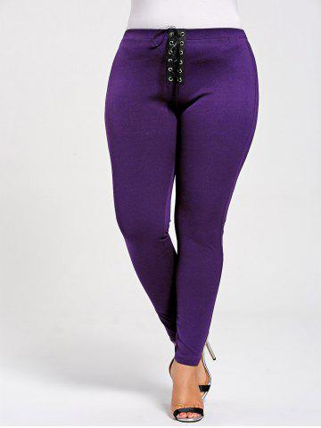 Affordable Skinny Plus Size Lace Up Leggings