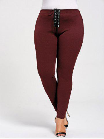 Store Skinny Plus Size Lace Up Leggings