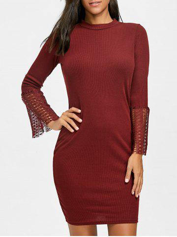Outfits Lace Panel Knitted Bodycon Dress