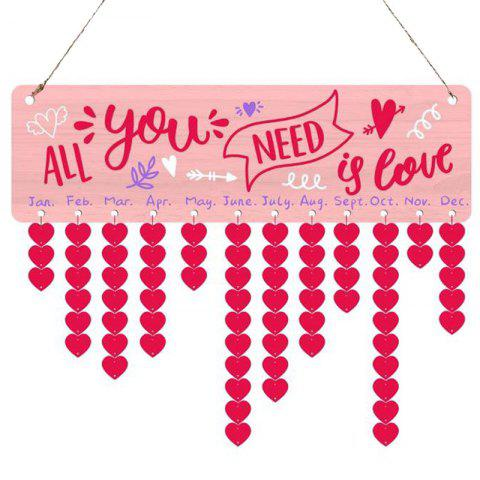 Valentine's Day Letter Print Heart Hanging Wooden Calendar Decor - PINK