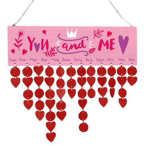 Valentine's Day Wooden Hanging Calendar Recordatorio - BRIGHT RED