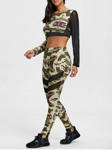 Shop Mesh Insert Camouflage Cropped Top and Leggings