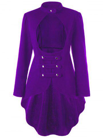 Cheap Plus Size  Long Sleeve Cut Out High Low Coat