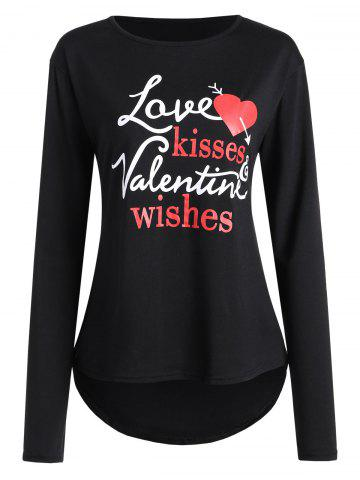 Valentine Love Heart Print High Low T-shirt