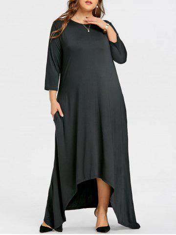 Best Plus Size Maxi Asymmetric Dress with Sleeves