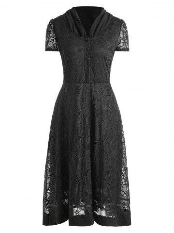 New Plus Size Lace Overlay Half Button Dress