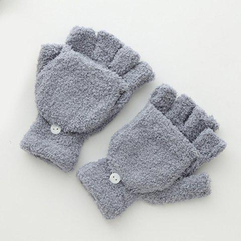 Fashion Cashmere Fingerless Hooded Winter Gloves