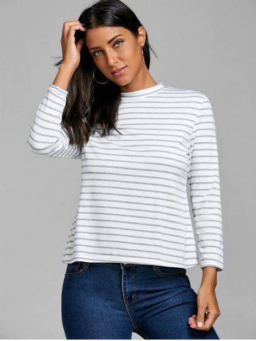 Back Slit Button Striped T-shirt