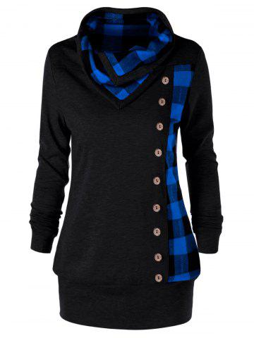 Sale Plus Size Cowl Neck Plaid Sweatshirt