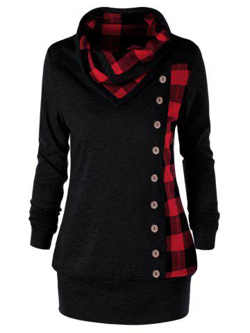 Buy Plus Size Cowl Neck Plaid Sweatshirt